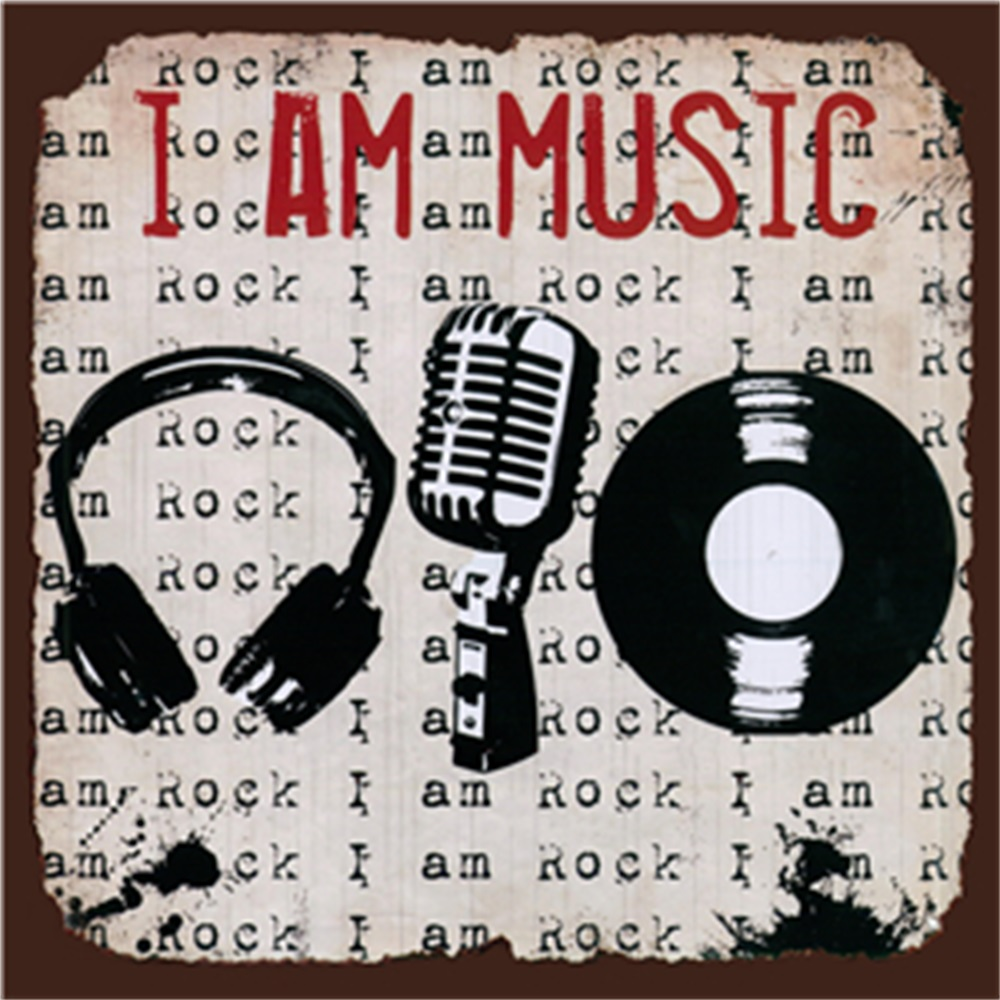 I AM Music Metal Sign Bar Wall Decoration Tin Sign Vintage Metal Poster Home Decor Painting Plaques Art Poster in Plaques Signs from Home Garden