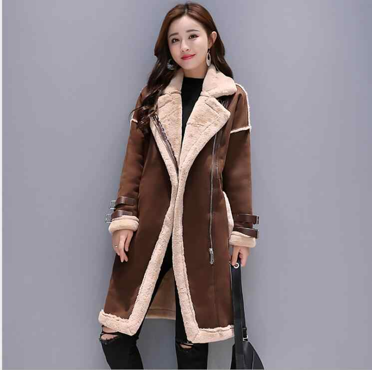 864bad7b6 Women lambs wool coat female long thick warm shearling coats faux ...