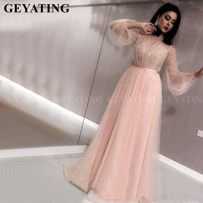 Image 4 - Elegant Black Muslim Long Sleeves Evening Dress 2019 Saudi Arabic High Neck Pearls Tulle Pink Kaftan Dubai Prom Dress Plus Size-in Evening Dresses from Weddings & Events