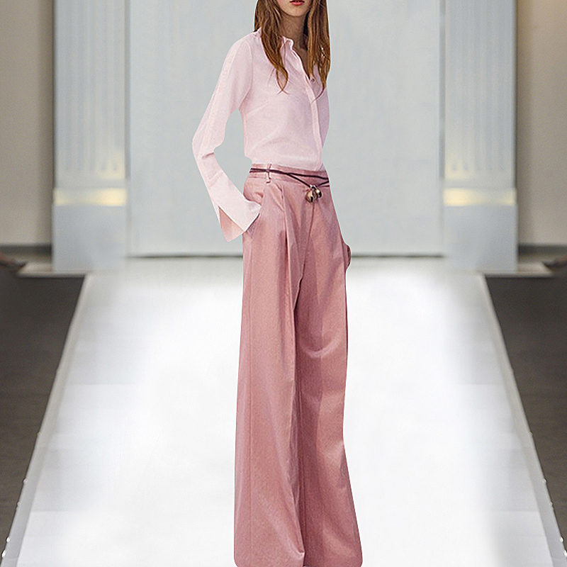 1127-17 Q 2019 printemps créateur de mode dame décontracté rose bureau ensemble revers trompette manches chemise + dentelle jambe large pantalon 2 pièces ensemble