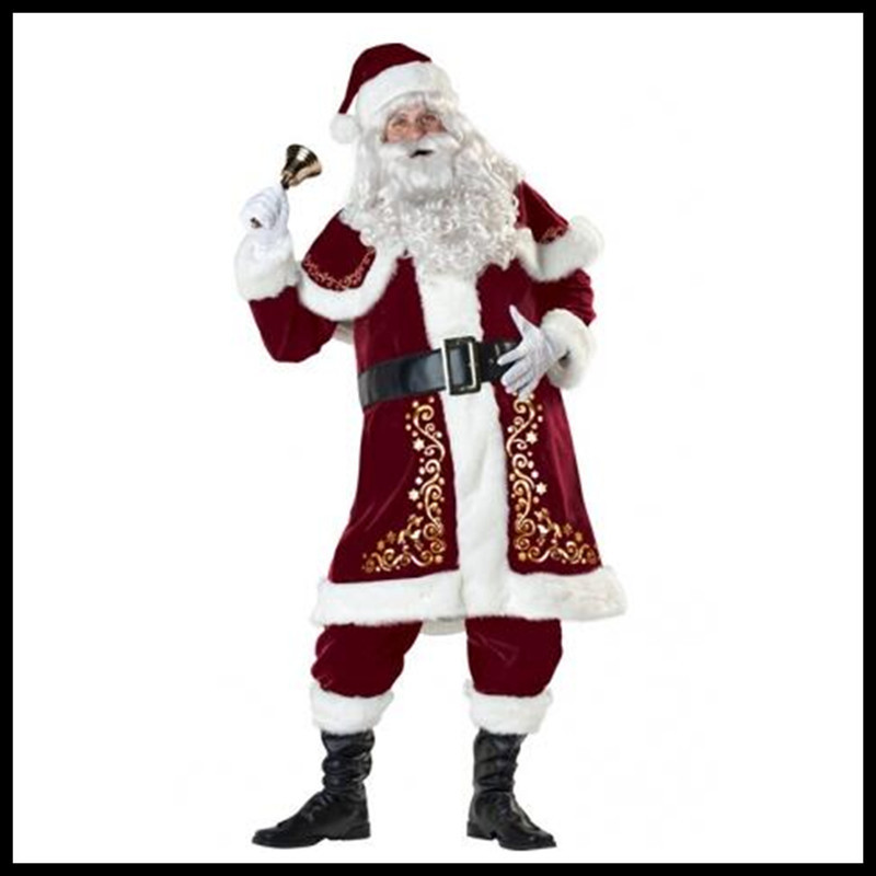 Wholesale Santa Claus costumes adult men's high-grade thickening clothing high-end Christmas clothing plus size M-3XL outdoor christmas decoration inflatable santa claus 20ft high 6m high factory direct sale bg a1188 toy
