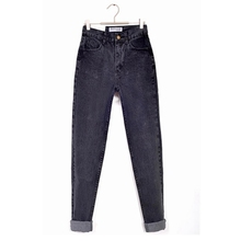 Vintage high waist jeans woman 2018 Autumn fashion skinny mom boyfriend jeans for women black denim pants female trousers