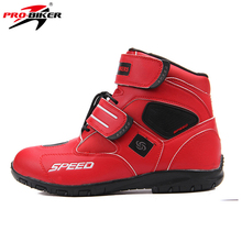 PRO-BIKER SPEED BIKERS Men's High Ankle Racing Boots Off-Road Dirt Bike Motocross Racing Boots Moto Riding Shoes Leather