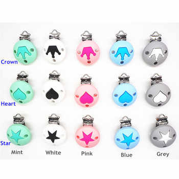Chenkai 10PCS Silicone Round Heart Star Crown Teether Clips DIY Baby Pacifier Dummy Teething Chain Holder Soother Toy Clips