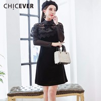 CHICEVER 2018 Spring Velvet Slim Women Dress Female Patchwork Lace Hollow High Wiast Black Dresses Clothes