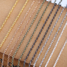 Mibrow 10m/lot Width 2mm Metal Iron Rolo Link Chains Bulk Gold Silver Color Necklace Chains Bracelet For Jewelry Making Findings 5m lot 1 5mm metal ball bead chains 7colors ketting kettingen bulk bulk iron chains for diy jewelry accessories