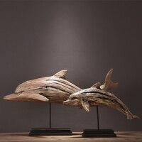 Американский кантри Ретро моделирование модели домашнего интерьера Смола дерева дельфин модель украшения исследование украшение гостино