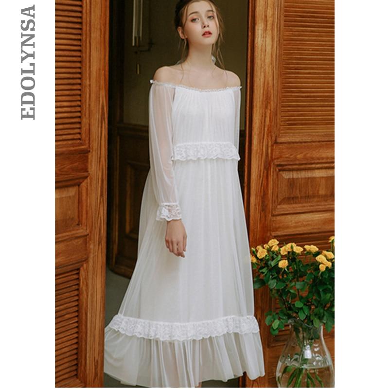 2019 Princess White Lace Ruffled Night Dress For Wedding