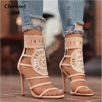 High Quality Women Fashion Open Toe Rhinestone Design High Heel Sandals Crystal Ankle Wrap Glitter Diamond