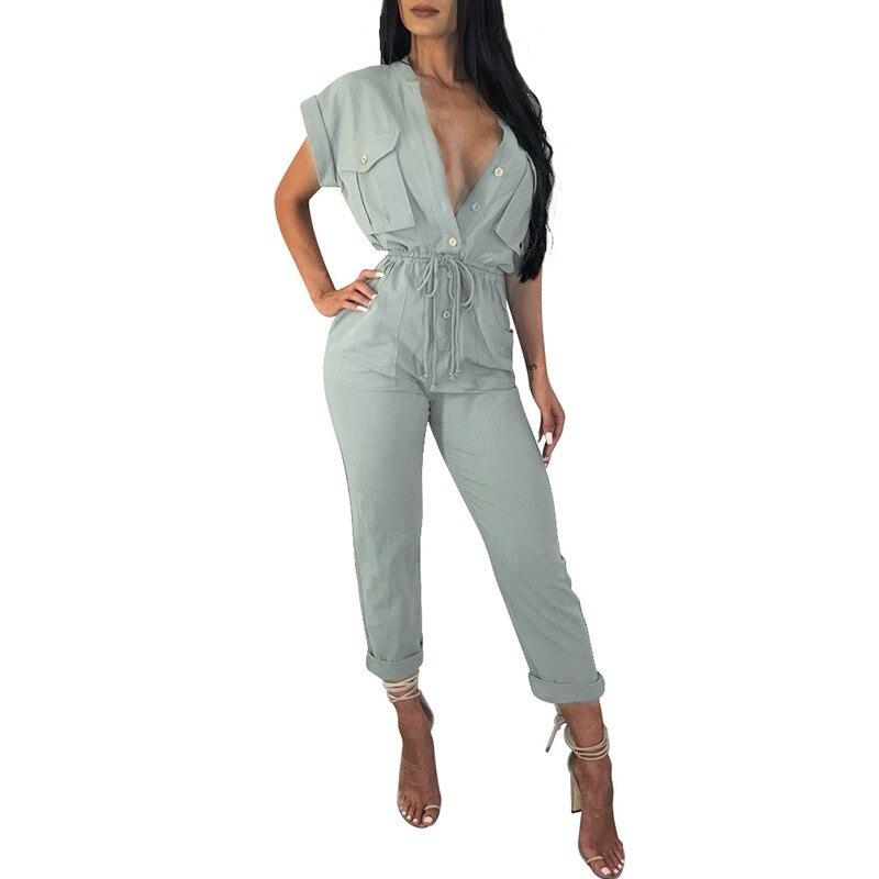 Casual Jumpsuits for Women 2018 Work Wear Elegant Ladies Short Sleeve Button-Up Pockets Self Tie Jumpsuit Black Romper Overalls