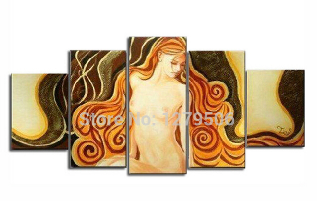 Hand Painted Oil Painting On Canvas Large Nude Paintings Wall Decoration 5 Piece set Hot Sexi Photo Image Pictures For Home in Painting Calligraphy from Home Garden