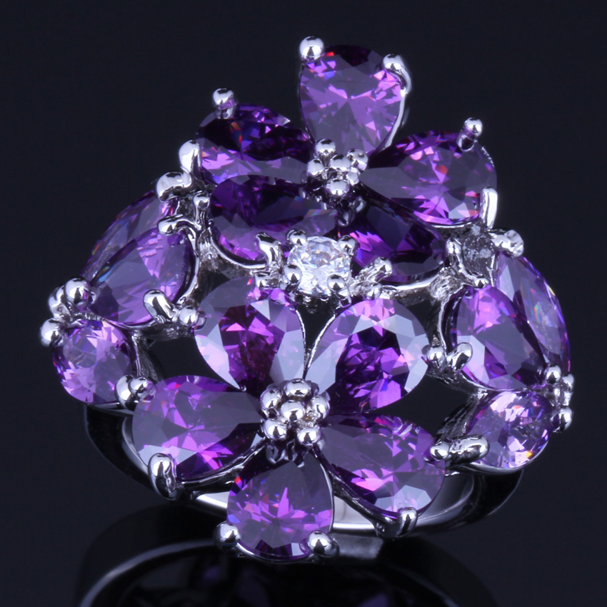Ravishing Huge Purple Cubic Zirconia White CZ 925 Sterling Silver Ring For Women V0162