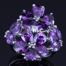 Ravishing Huge Purple Cubic Zirconia White CZ 925 Sterling Silver Ring For Women V0162
