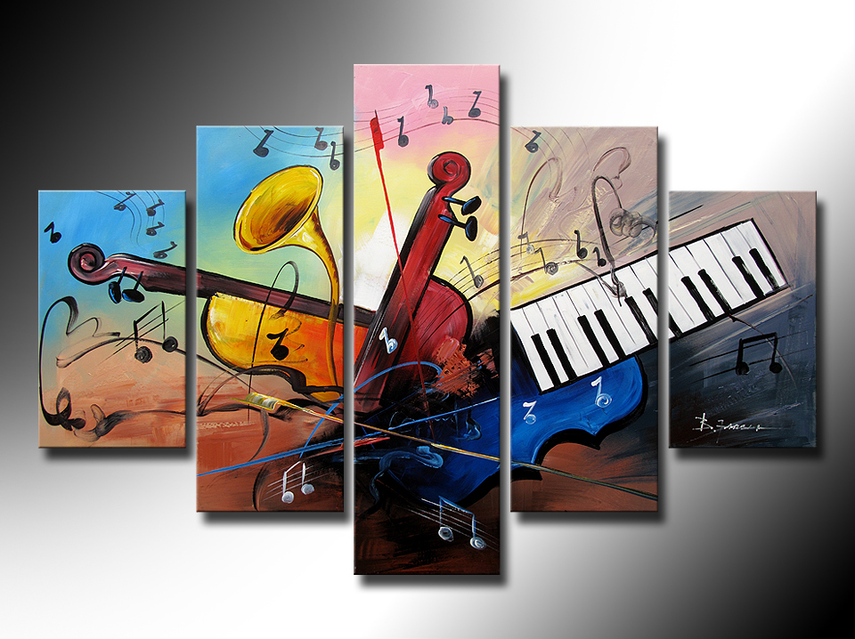 hand painted oil wall art dark red keyboard strings decoration