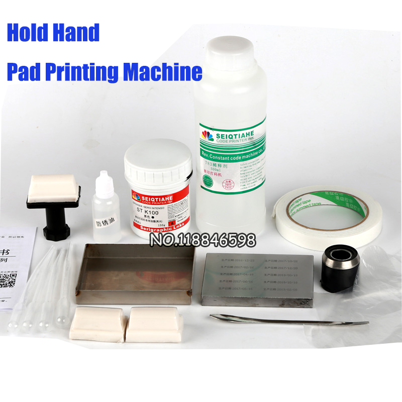 13PCS Set Manual Code Machine Production Date Printer Cosmetic Food Hand Held pad Printing Machine with