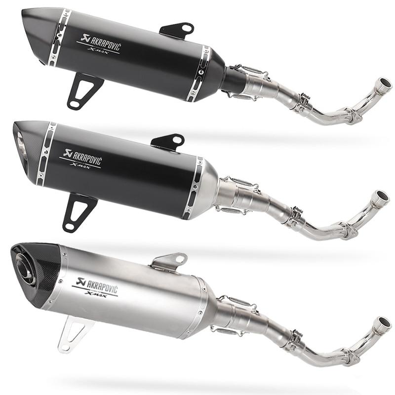 X-max 300 X-MAX 250 Meados de Tubo de Ligação Sistema de tubo de Escape Da Motocicleta Silenciador akrapovic Completo Moto De Fibra De Carbono Para yamaha XMAX 300