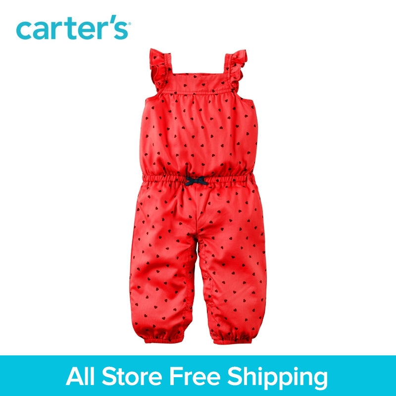 Carters 1pcs baby children kids Red Mini Heart Jumpsuit spring summer clothing Nickel-free 60% cotton baby lovable 118H268