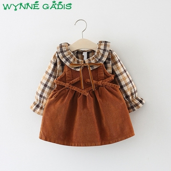 2019 Spring Baby Girls Long Sleeve Plaid Blouse Tops + Corduroy Bow Overalls Dress Kids Two Pieces Pleated Tutu Dresses vestidos