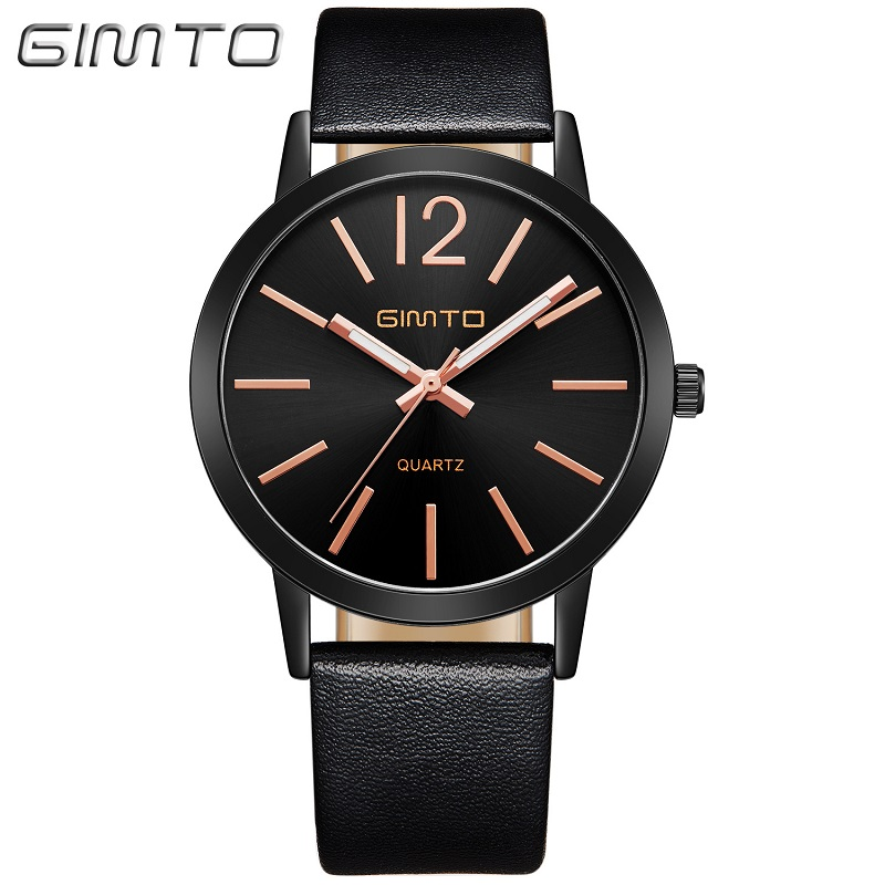 GIMTO Fashion Women Casual Watches Simple Minimalism Unique Stylish Quartz Watch Woman Leather 3ATM Waterproof Girls Clock hireno modified headlamp for kia cerato 2006 2008 headlight assembly car styling angel lens beam hid xenon 2 pcs