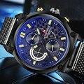 2016 Marca de Lujo de Cuarzo Multifunción Reloj de Los Hombres Casual Relojes Deportivos Masculinos Malla de Acero Negro Correa de Reloj de Pulsera Hombres Reloj Militar