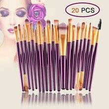 20 шт набор кистей для макияжа, профессиональные кисти, Премиум синтетическая Пудра основа для век подводка для глаз губ косметический набор