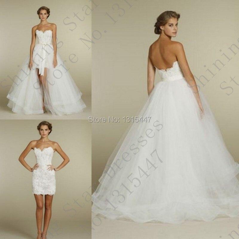 Wedding dress short front long train discount wedding for Short wedding dress with long train