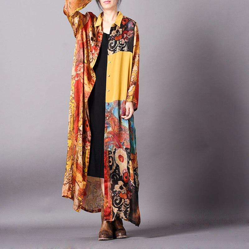 New Original Design Women's Summer Printed Retro Coats Big Size X-long   Trench   Female Clothing