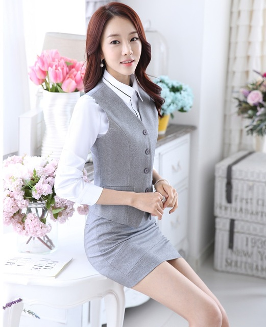 b5caabc810 Novelty Grey Slim Fashion Professional Business Women Suits Vest And Skirt  Spring Summer Female Ladies Blazers
