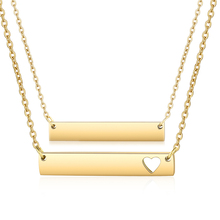 10pcs/lot Gold Color Blank Bar Necklace 35*6*2mm Heart Cut Out Bar Pendant Jewelry Mirror Polished Popular Choker Necklaces trendy cut out bar noctilucent necklace for women