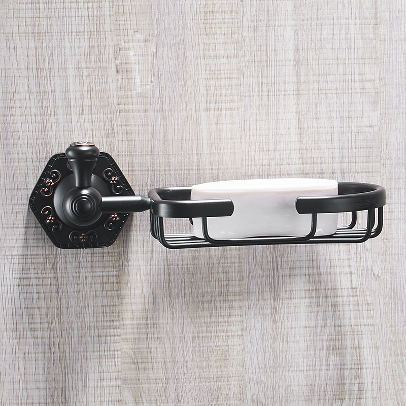 FLG Soap Dishes Brass ORB Black Soap Basket Wall Mounted Shower Soap Dish Holder Bathroom Accessories Bath Hardware