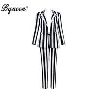 Bqueen 2019 Fashion V Neck Striped Full Sleeve Sexy Business Pant Suits Set Blazers Formal Women Elegant Sets