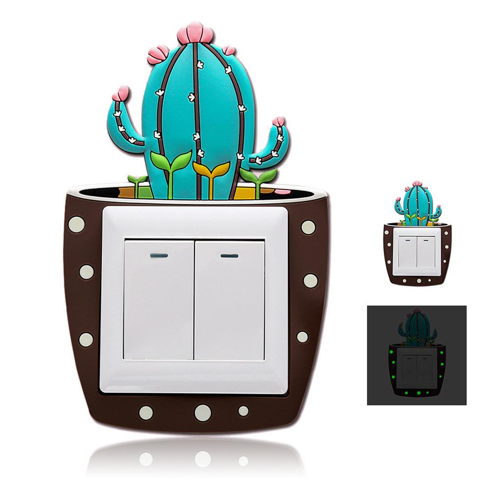 1 Piece Cartoon 3D Cactus Fluorescent Wall Silicone Switch Sticker Childrens Night Light Socket Home Decoration