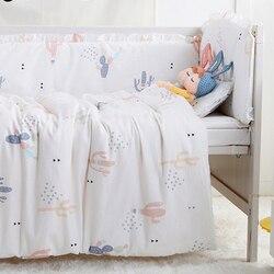 7 STÜCKE vollen Satz Infant Bettwäsche Junge Mädchen Kinderbett Bettwäsche Set mit Stoßstange Neugeborenen, (4 stoßfänger + blatt + bettbezug + kissen)