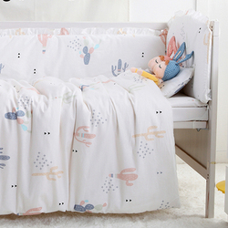 7PCS full Set Infant Bedding Boy Girl Baby Crib Bedding Set with Bumper Newborn,(4bumper+sheet+duvet +pillow)