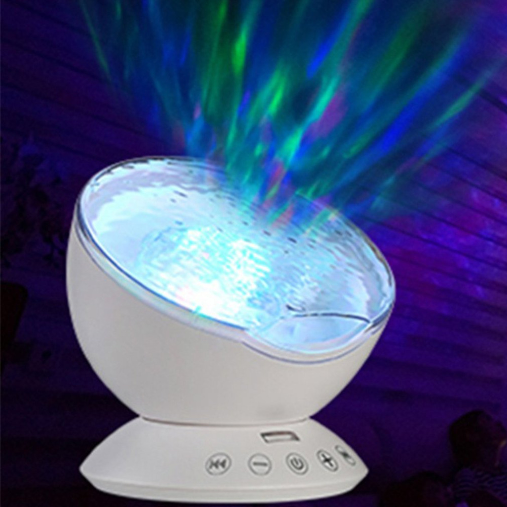 Ocean Wave Starry Sky LED Projector Aurora Night Light Novelty Lamp USB 7Colors Remote Control Sleeping Nightlight Illusion 7colors led night light starry sky remote control ocean wave projector with mini music novelty baby lamp led night lamp for kids