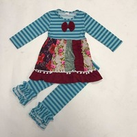 Cheap Price Children Winter Clothes Striped Swing Patchwork Dress Cotton Ruffle Pants Winter Little Girls Boutique