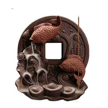 YXY Home Decor Tower Incense Holder Two Fish Backflow Incense Burner Ceramic Copper Censer Buddhism Burner in Box