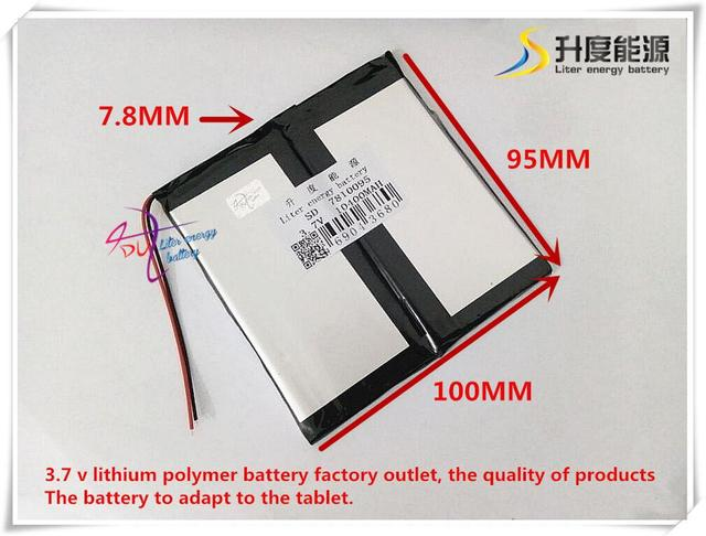 SD 7810095 de iões de lítio polímero de 3.7 V 10400 mAH/bateria Li-ion para tablet pc, mp3, mp4, telefone celular, banco de potência