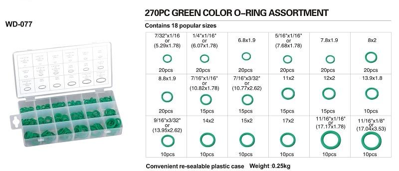 180/270 szt. 18 rozmiarów Zestaw gumowy O-ring Zestaw czarny zielony - Zestawy narzędzi - Zdjęcie 3