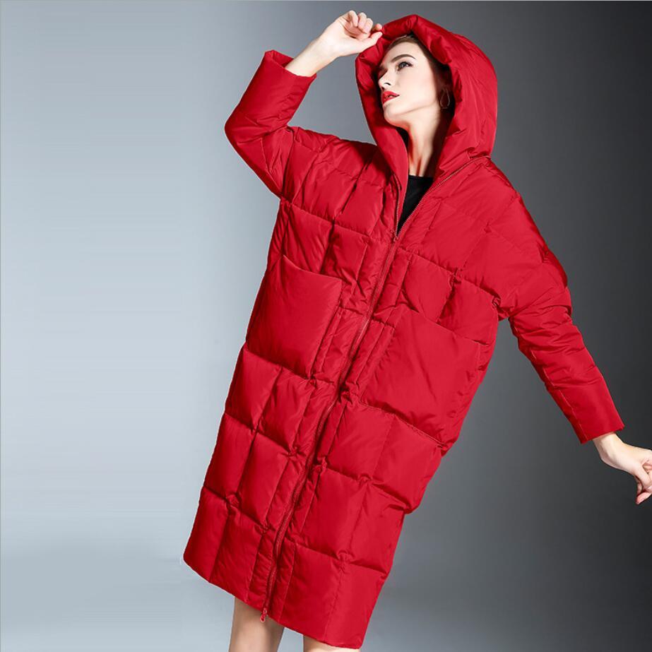 2018 Winter Jacket Women fashion zipper X-long Loose Hooded   Down     Coat   White Duck   Down   Parkas Thick Warm
