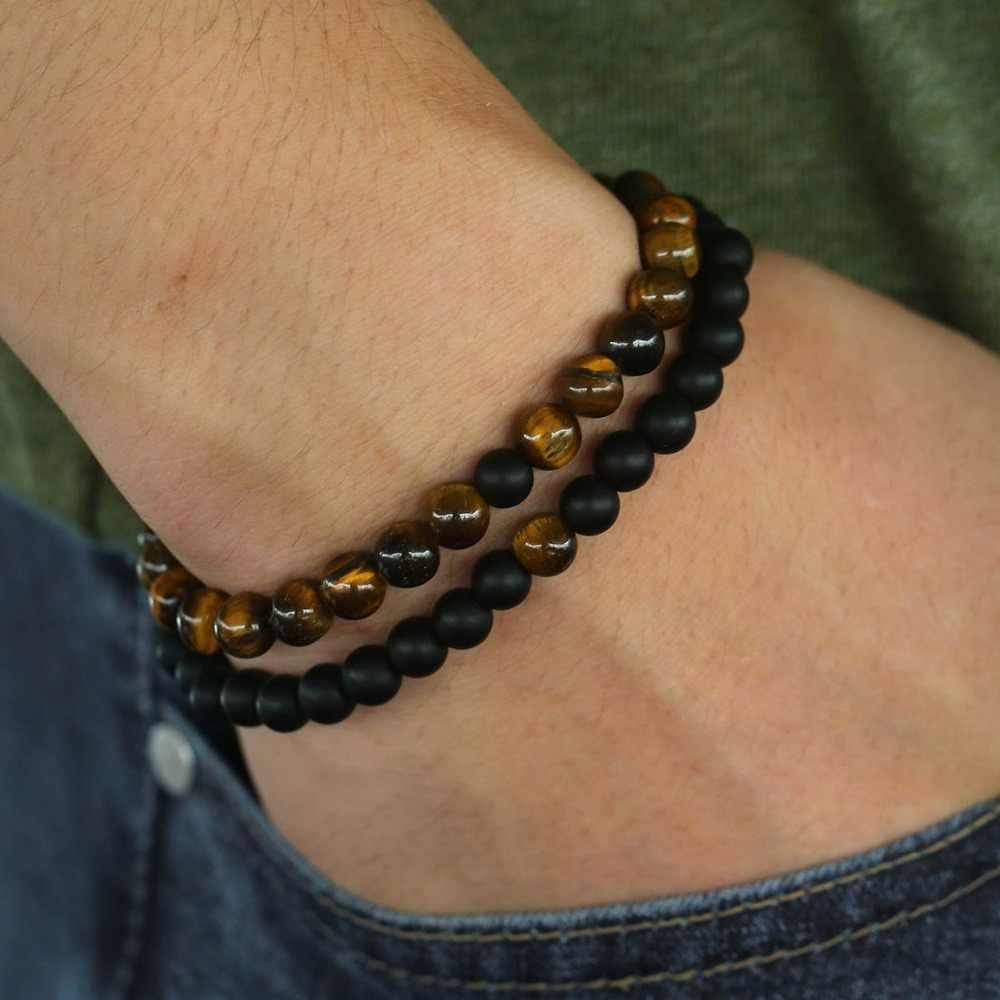 15 kolorów naturalny tygrys kamień damska męska bransoletka z paciorkami moda biżuteria męska hurtownie prezenty walentynkowe dla mężczyzn kobiety DDBM03