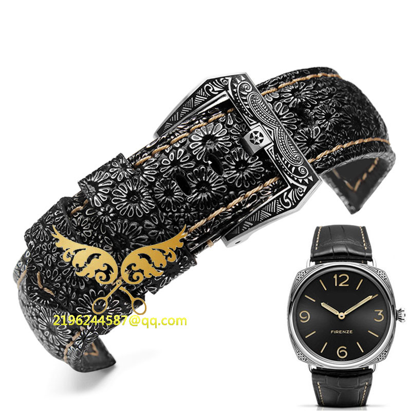 New arrivals P style Hand made High Quality Fine Imported Italian Leather Watch Strap &Band 24mm With Stainless Steel Buckle
