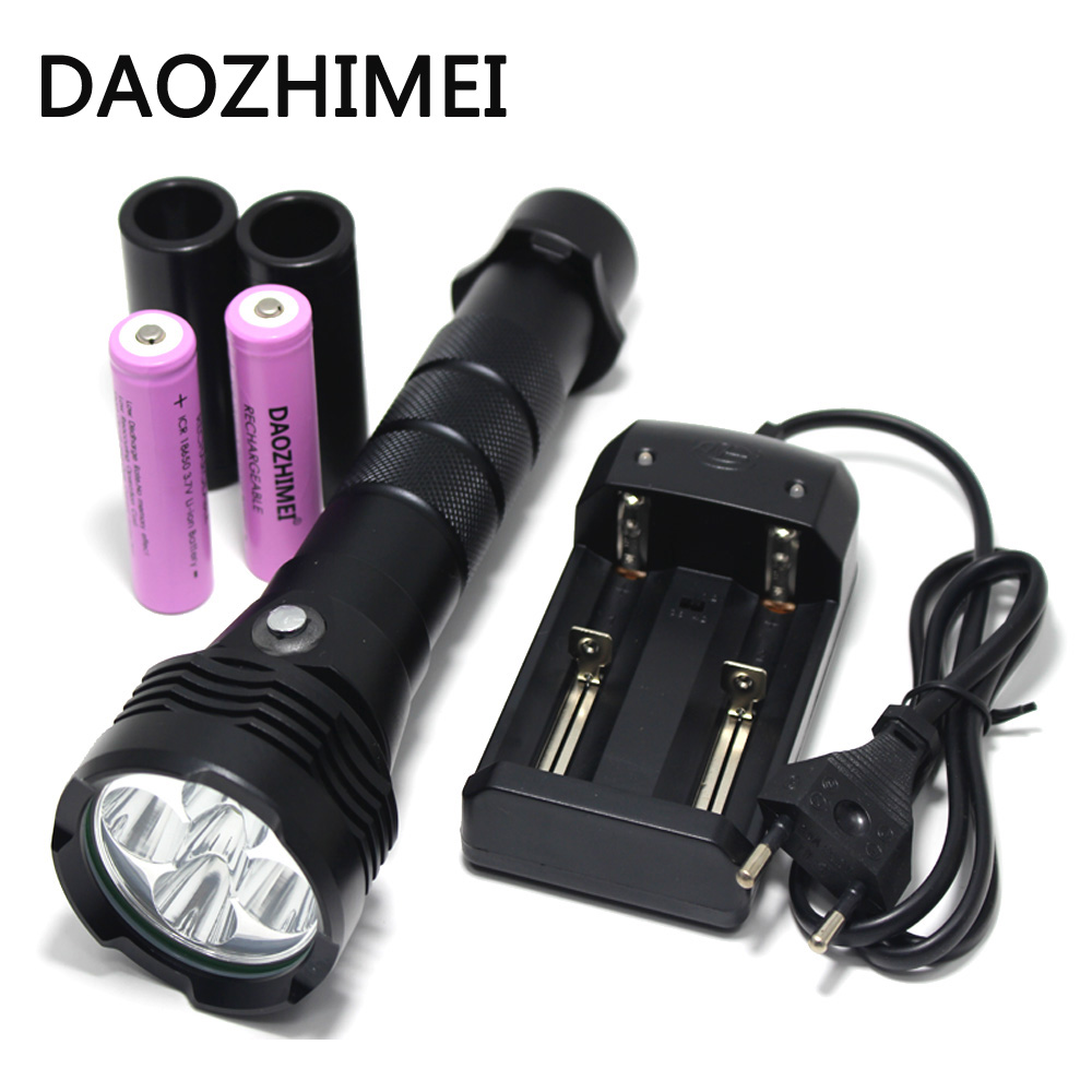 50W 5*XM-L2 LED Scuba Diving Flashlight Underwater 80 M Flash Light Torch Diver Portable Lantern 18650 /26650 Battery+Charger led xm l2 flashlight 8000lumens tactical flashlight hunting flash light torch lamp 18650 battery charger gun mount