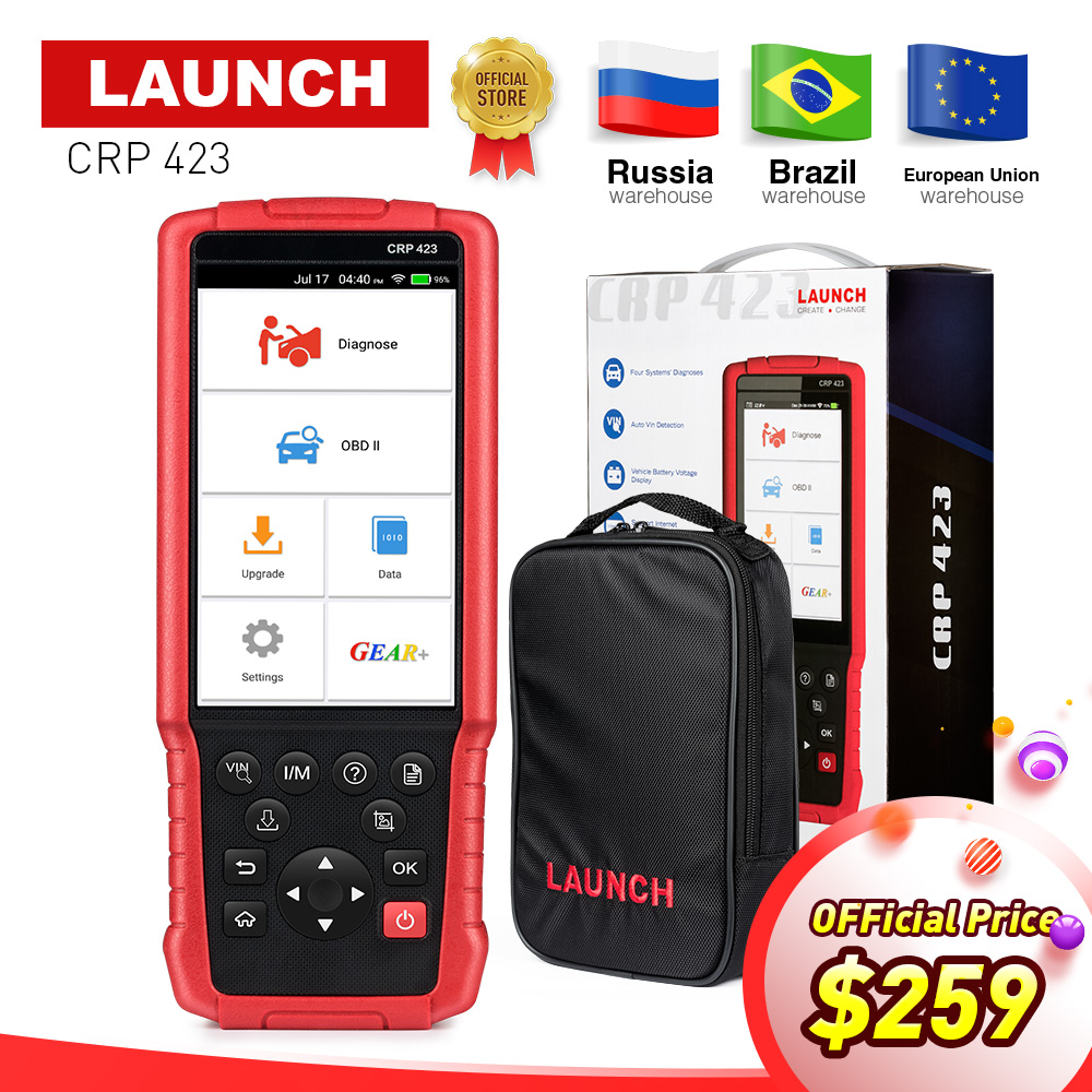 LAUNCH X431 CRP423 OBD2 Code Reader Scanner support Engine/ABS/Airbag/AT OBD 2 CRP 423 Auto diagnostic tool free update CRP123 launch x431 obd2 automotive diagnostic scanner obd2 bluetooth adpater mdiag elm327 update online enhanced code reader