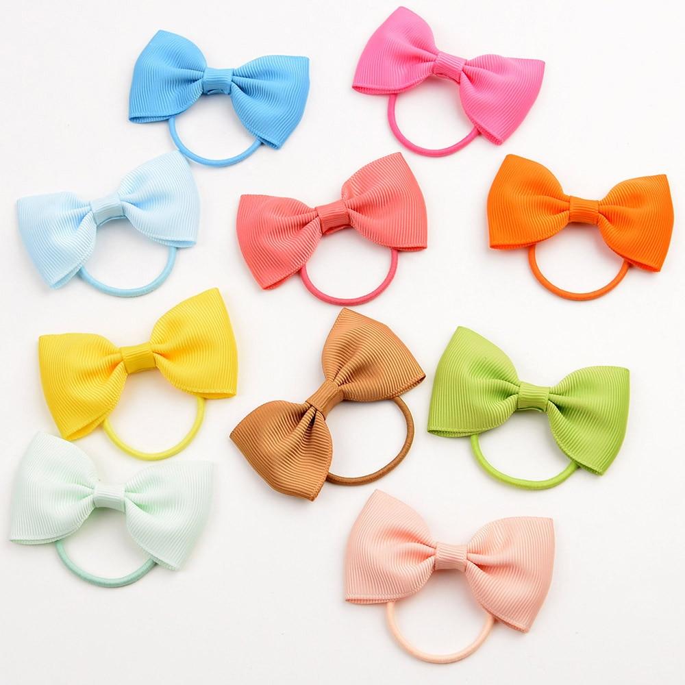 20Pcs//lot Kids Girls Elastic Hair Rope Ribbon Bowknot Rubber Band Accessories
