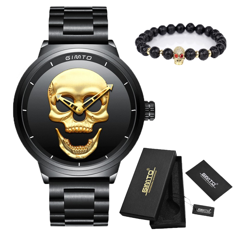 Brand Luxury Punk 3D Skull Men Watch Gold black Full Steel  Waterproof Clock Casual Military Male Sport Quartz Watches Gift fashion black full steel men casual quartz watch men clock male military wristwatch gift relojes hombre crrju brand women watch
