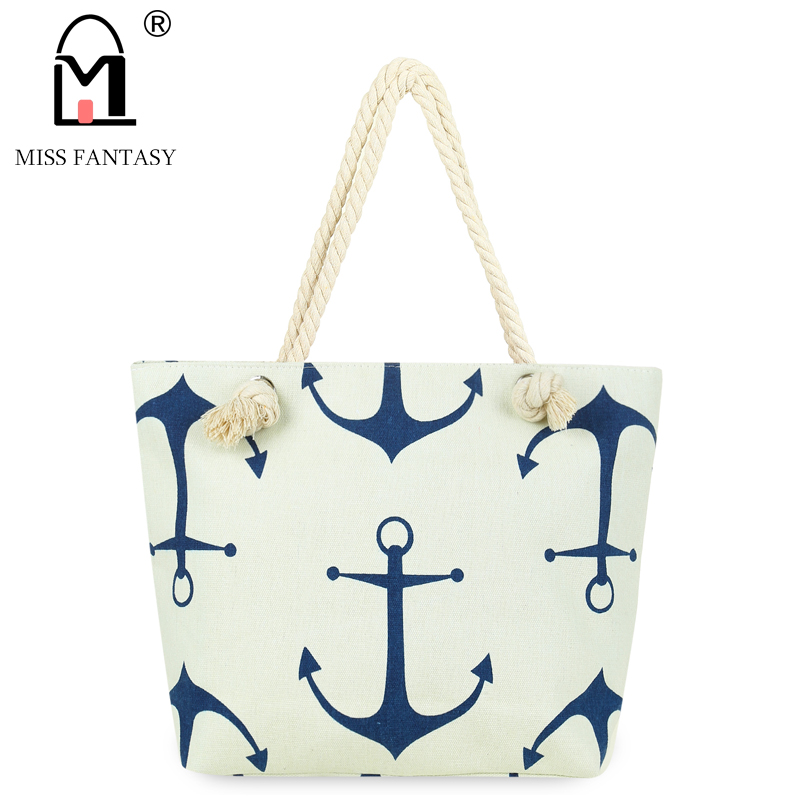 MISS Fantasy Summer Bag Canvas Female Shoulder Bag Anchor Printed Handbag Big To