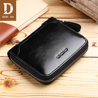 DIDE Casual purse female small Genuine Leather Men Wallets Zipper Wallets Male Purses Coin Card Holder Wallet Men's Bag 657