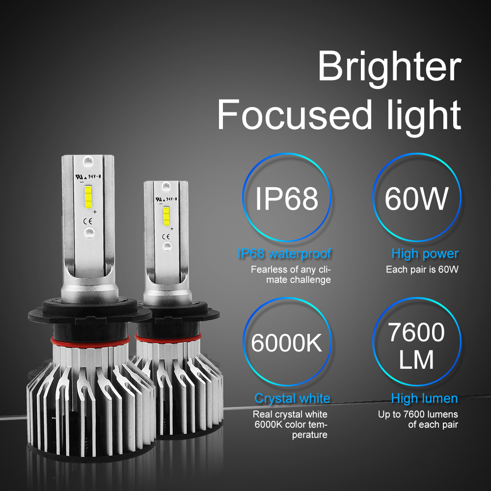 Automobiles & Motorcycles H7 Led H4 H1 H3 H8 H9 H11 9006 9005 Auto Car Headlight Bulb Csp Chip 60w 7600lm Automobile Headlamp Fog Light 6000k Led Lamp 12v Beautiful In Colour