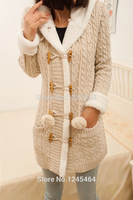 Plus Size 2014New Winter Cashmere Sweater Thick Warm Hooded Sweater Coat Korean Slim Double Breasted Thick